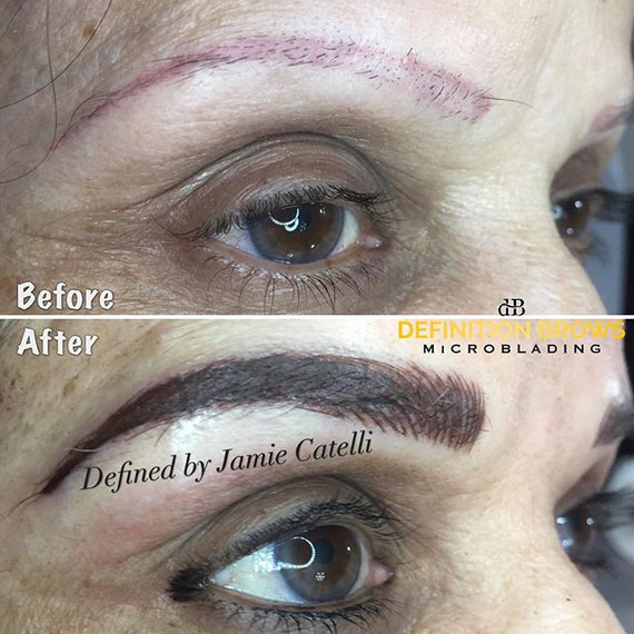 Transformation Tuesday 💥 Bye 👋🏼 pink brows!! To cover this up and keep a natural look, I combined microblading and permanent brows together!
