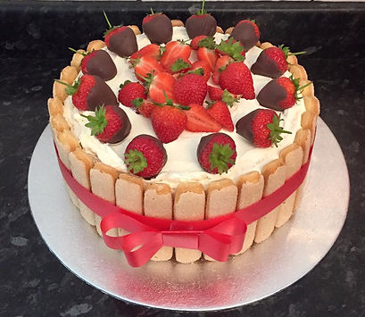 6 Strawberry Charlotte Gateau