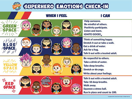 superhero emotions check in 18x24 w new