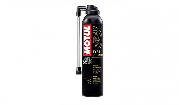 MOTUL P3 TYRE REPAIR PUNCTURE FOAM RE-INFLATE WITHOUT TOOLS SEAL FIX BIKE