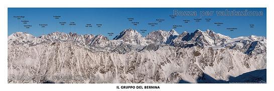 Il gruppo del Bernina - testata panoramica dell avalmalenco con toponomastica