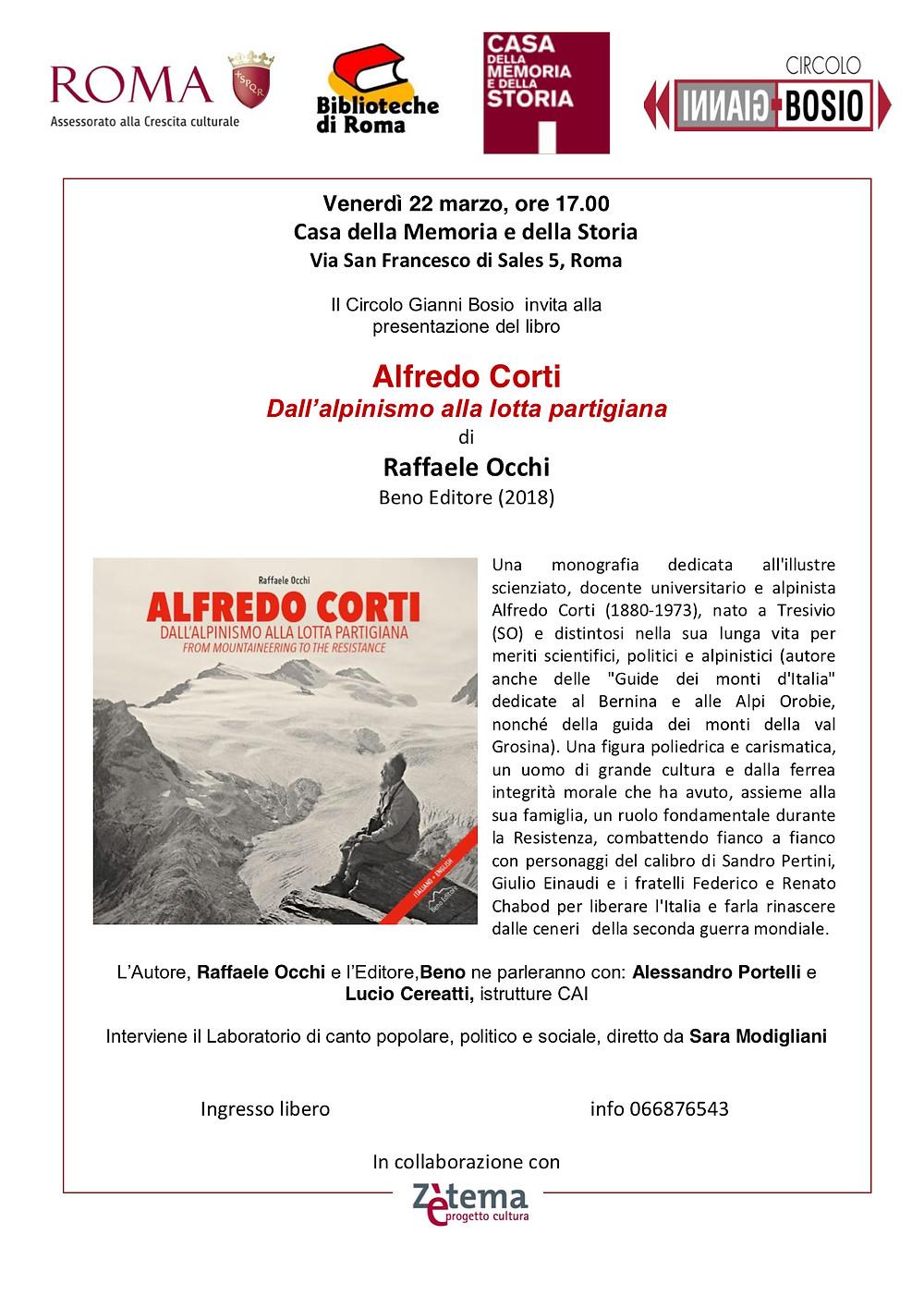 invito presentazione Alfredo Corti a Roma