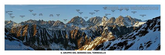 Il gruppo del Bernina - testata panoramica della valmalenco con toponomastica