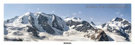 Il gruppo del bernina, testata panoramica don toponomastica - riprasa dal diavolazza - engadina