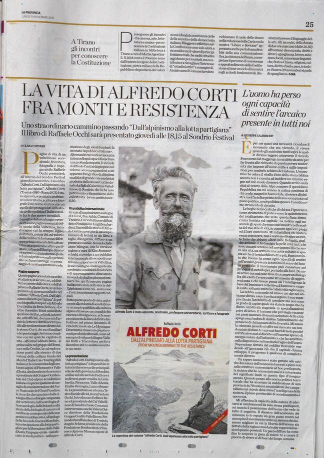Alfredo Corti...su La Provincia di Sondrio