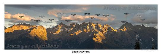 testata panoramica delle alpi orobie ripresa da campo