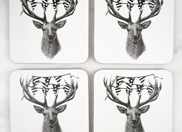 Set of 4 Party Stag coasters