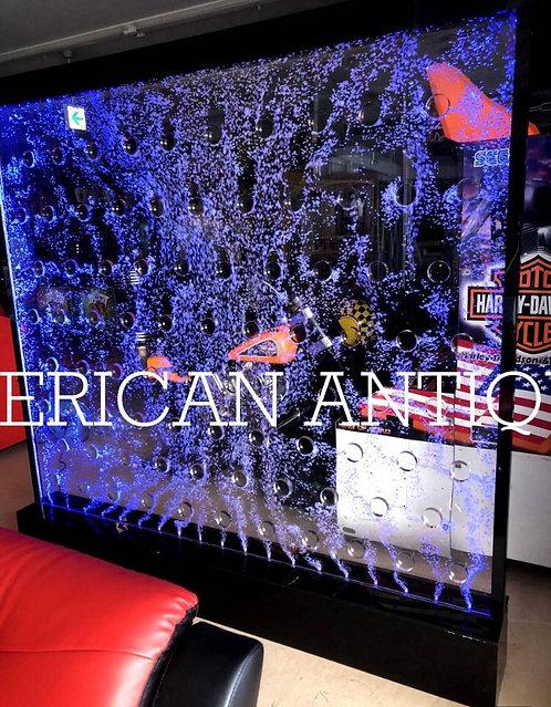 水が流れ、LEDが美しいパーテーション 200cm×200cm アクアバブルウォール 循環ポンプ カラーバリエーション豊富なLEDライトで光る!!