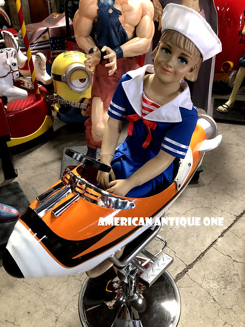 アメリカンヴィンテージ★ レストア品 ロケット・カーニバル・ライド!! バーバーチェアー 女の子の陶器製ドール付き!!