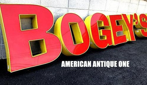 カリフォルニア州郊外のレストランバー  鉄枠 BOGEY'S BAR 9文字セット!! 並び替えOK 1個なんと大型68cm