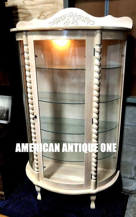 ベストサイズ178cm ショーケース 飾り棚 ガラス張り 木製 鍵付き ライト点灯OK!! アメリカン・ヴィンテージ