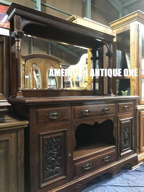 激安^^上品なスタイルで圧倒 大型181cm アンティーク家具 木製チェスト ミラー付 USA直輸入