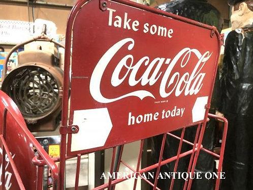 大型130cm USAコカ・コーラ キャスター付 鉄製 コカ・コーラクラブ USA直輸入