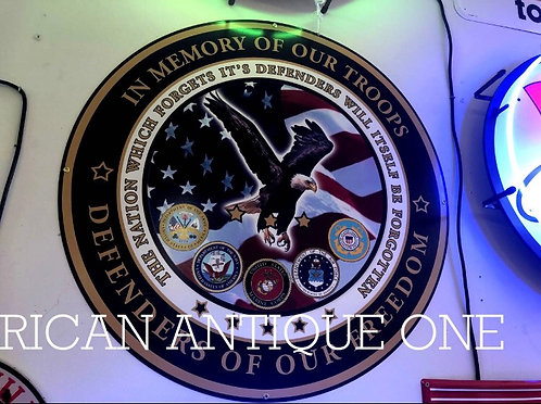 In honor of the U.S. military... signboard