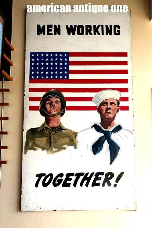 American Vintage World War II handwritten paint 227 cm x 122 cm