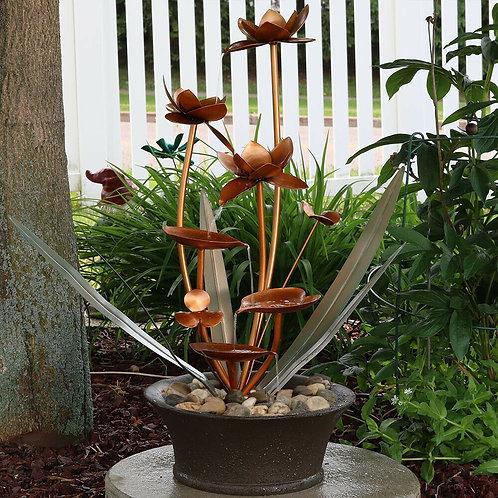大型71cm お花型 噴水 循環 屋内・屋外OK 新品 ブロッサム