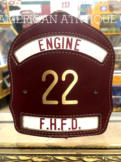 Helmet Leather Front Shield / USA Firefighter F.H.F.D.