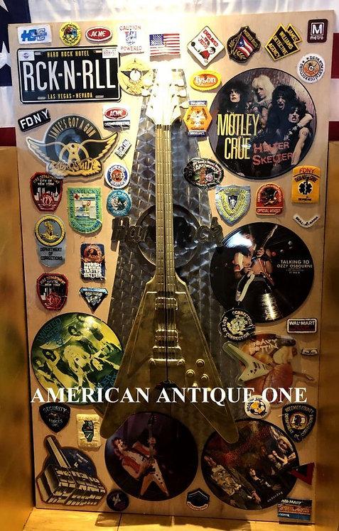 USA非売品 激レア!! 本物!! 重い!! 鉄製ゴールドギター!! ラスベガス ハードロックホテル 本物ドアノブ スペシャル・カスタマイズ
