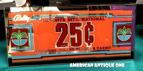大きめ45cm パラダイスアイランドリゾート・25セント USA非売品 ラスベガス・スロットマシーン パーツ USA直輸入