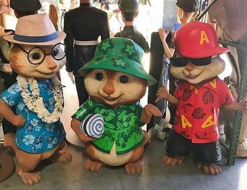 アルビン 歌うシマリス3兄弟 アルビン&セオドア&サイモン ハワイアンバージョン 映画宣伝用 等身大フィギュア