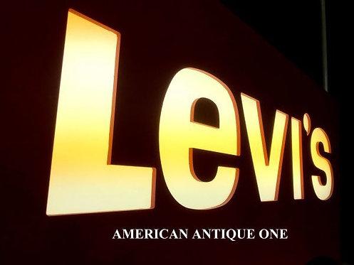 アメリカ非売品 どっしり木製 しかも大型110cm リーバイス ネオン 点灯OK!!  USA直輸入