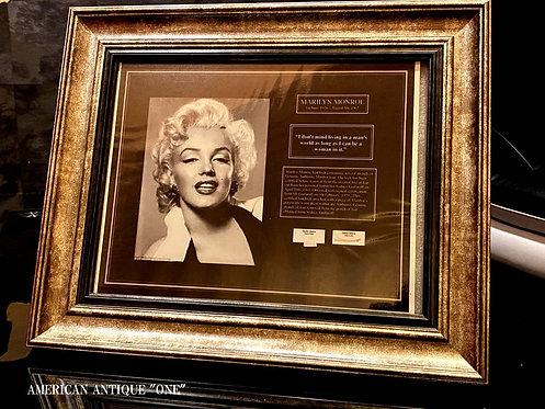 豪華2点セット!! マリリン・モンローの髪の毛と、着用ドレスの切れ端!! 証明書付(5枚)壁掛けOK