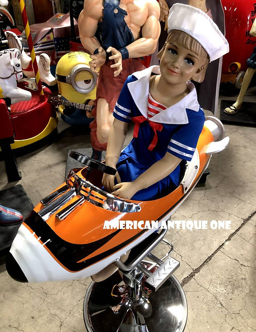 VINTAGE!!  Rocket Barber chair with a doll