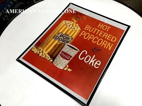非売品 大型51cm USAコカ・コーラ ホットバターポップコーン & コカ・コーラ 額入り 看板 壁掛けOK!!