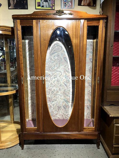 アメリカ家具 大型218cm 高級感あり 背面布張り アンティーク家具 USA直輸入 ショーケース