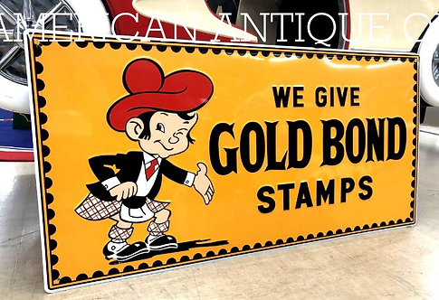 Gold Bond Stamp Iron Signboard / 1980s Design