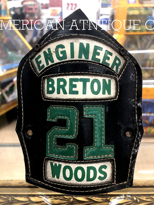Helmet Leather Front Shield / USA Firefighterm WOODS