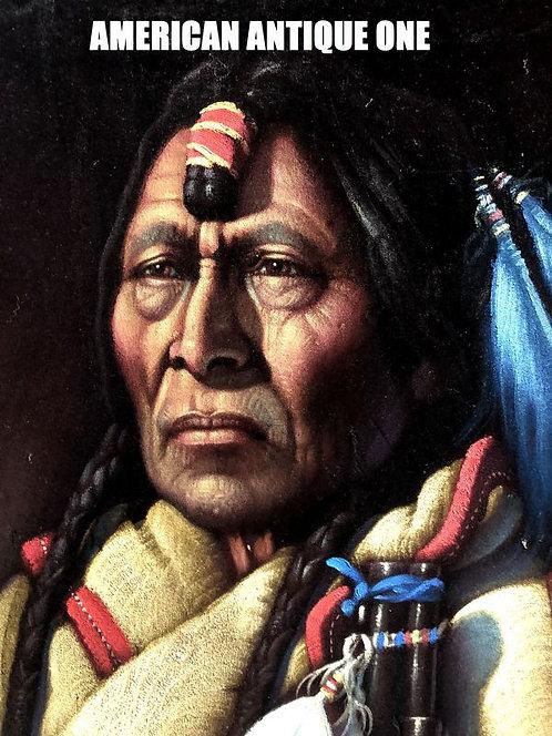 なんと布製!! 1971年 大型104cm MAN OF WISDOM インディアン 看板 壁掛けOK!! USA直輸入