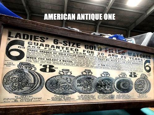 ヴィンテージ 当時の額入り看板 懐中時計  宣伝広告ポスター USA直輸入