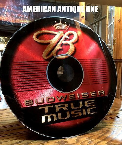 美しい輝き 非売品ディスプレイ 鉄製看板 大型58cm バドワイザー トゥルーミュージック レコード型  USA直輸入