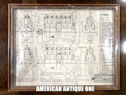USA非売品 激レア!! メルセデス エンジン 設計図 USA直輸入