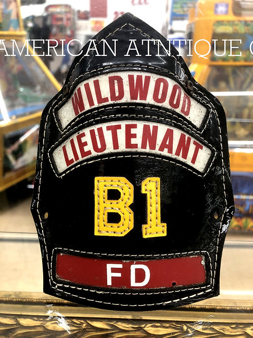 Helmet Leather Front Shield / USA Firefighter FD