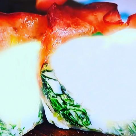Canastitas de jamón, espinaca y queso light