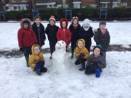 Year 1 built a snowman.