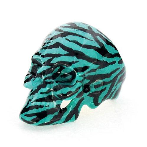 Turquoise Zebra Skull Ring