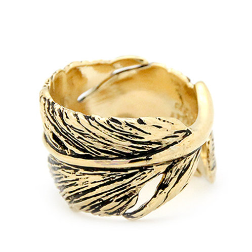 FEATHER RING GOLD-BLACK