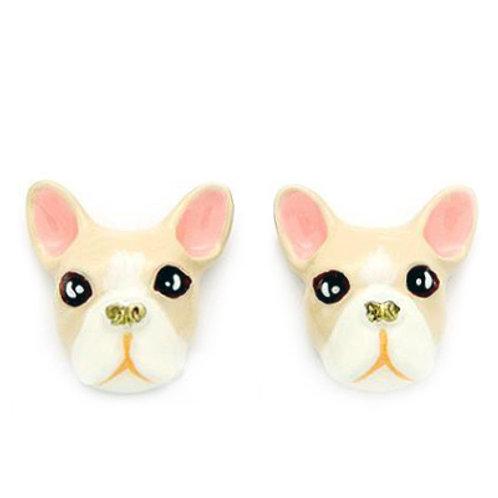 FRENCH BULLDOG EARRINGS (CREAMY)