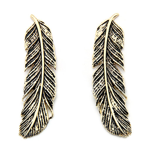 FEATHER EARRINGS GOLD-BLACK