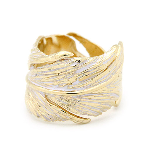 FEATHER RING GOLD-WHITE