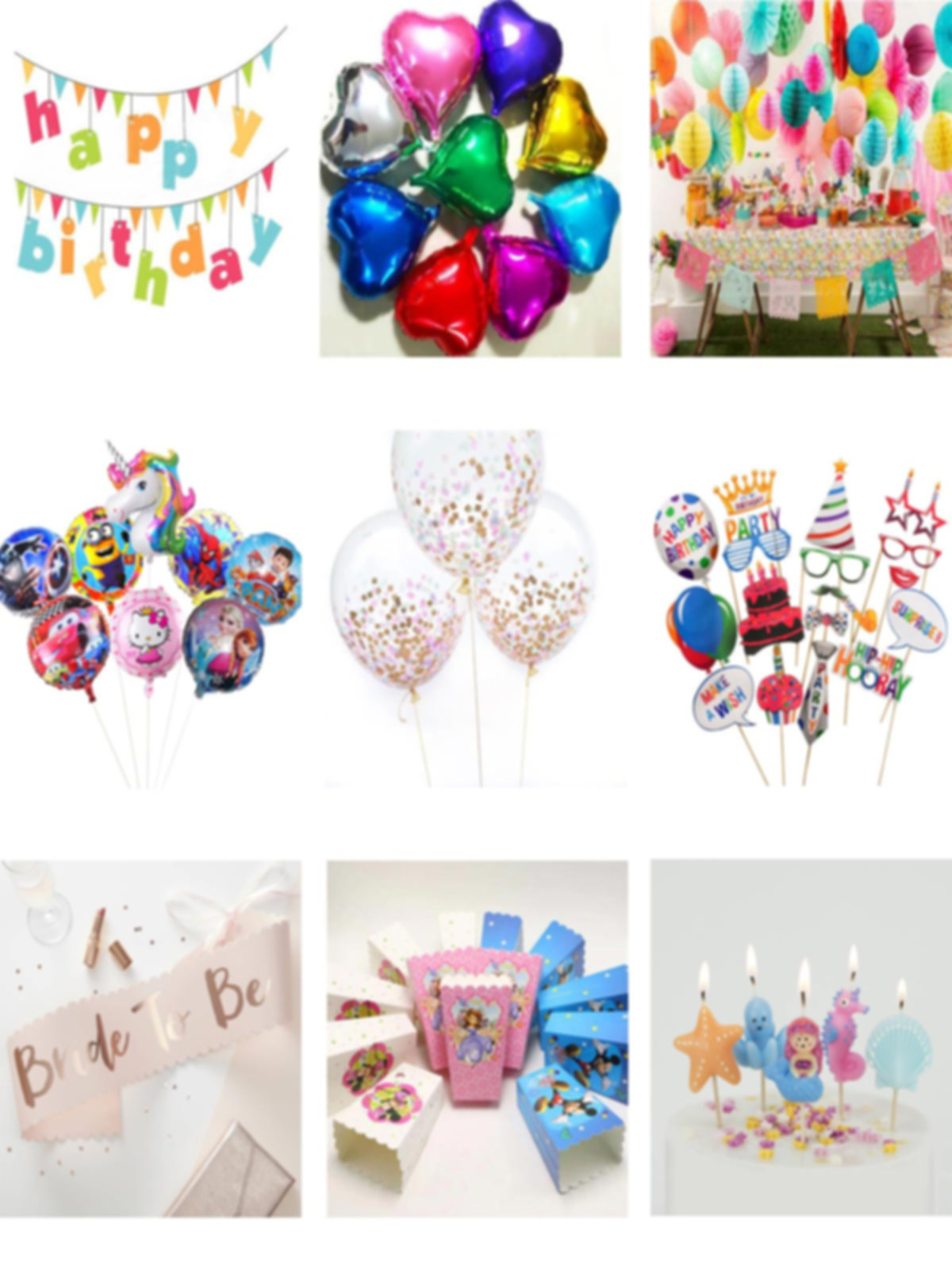 Birthday Supplies, Paty Items, Banners, Foil Balloons, Hanging decorations, Theme Foi Balloons, Phot Pops, Sashes, Favor Boxes and Bags, Candles and Fairy lights