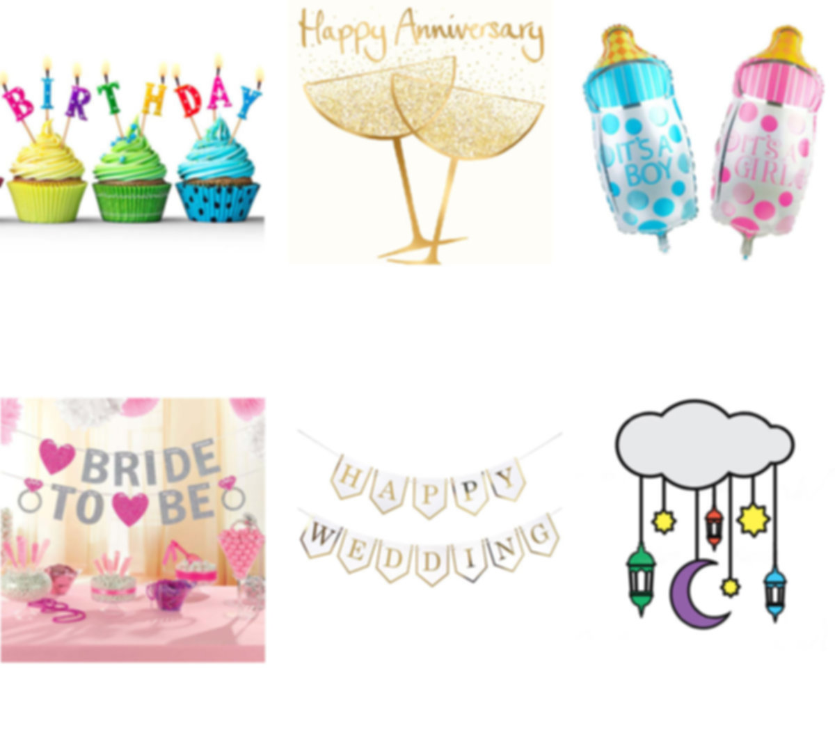 Party Items Supplies by Occasions, Birthday, Anniversary, Bridal , Baby Showers, Wedding