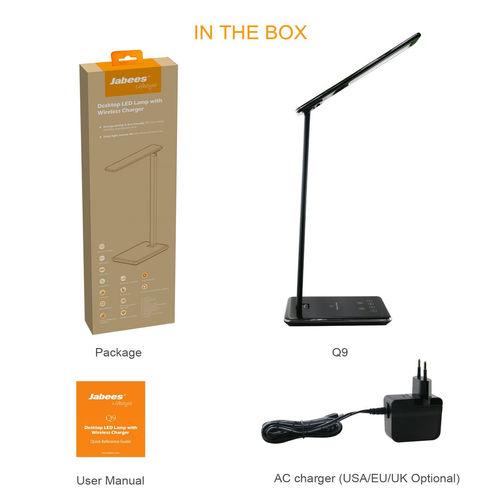 Jabees Q9【ジャビーズ Q9】Qiワイヤレス給電付 LEDデスクライト おくだけ充電 USB充電 おしゃれ 目に優しい