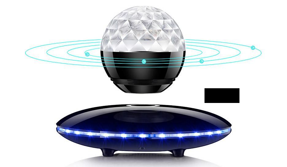 宙に浮くスピーカー ハンズフリー機能付 LEDで光るリビングロームガジェット