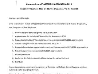 Convocazione Assemblea ordinaria 9-11-2016 h 20.30 via dei Bonoli 51 (Breganzona)