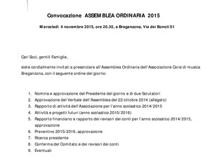 Convocazione Assemblea Ordinaria 2015