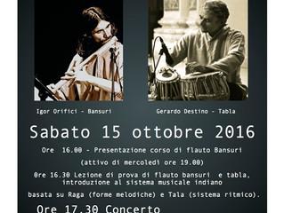 15 OTTOBRE: prova e concerto di flauto BANSURI